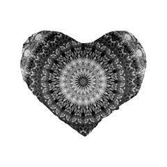 Feeling Softly Black White Mandala Standard 16  Premium Flano Heart Shape Cushions by designworld65