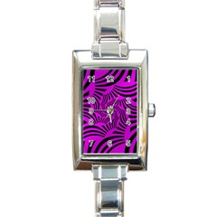 Black Spral Stripes Pink Rectangle Italian Charm Watch by designworld65
