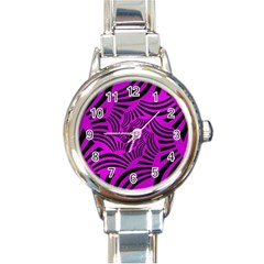 Black Spral Stripes Pink Round Italian Charm Watch by designworld65