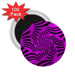 Black Spral Stripes Pink 2 25  Magnets (100 Pack)  by designworld65