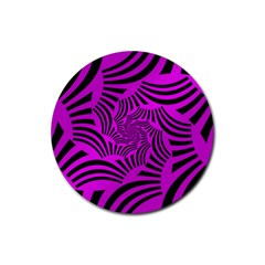 Black Spral Stripes Pink Rubber Coaster (round)  by designworld65