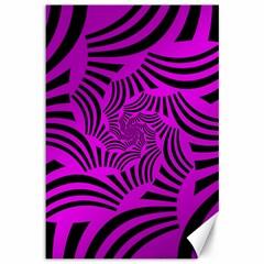 Black Spral Stripes Pink Canvas 12  X 18   by designworld65