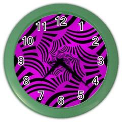 Black Spral Stripes Pink Color Wall Clocks by designworld65