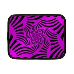 Black Spral Stripes Pink Netbook Case (small)  by designworld65