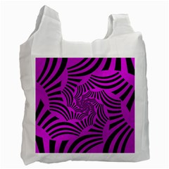 Black Spral Stripes Pink Recycle Bag (two Side)  by designworld65