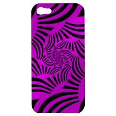 Black Spral Stripes Pink Apple Iphone 5 Hardshell Case by designworld65