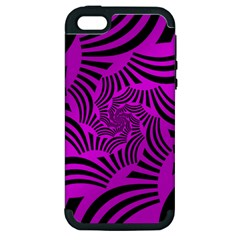 Black Spral Stripes Pink Apple Iphone 5 Hardshell Case (pc+silicone) by designworld65