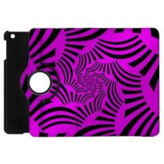 Black Spral Stripes Pink Apple Ipad Mini Flip 360 Case by designworld65