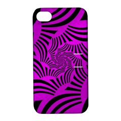 Black Spral Stripes Pink Apple Iphone 4/4s Hardshell Case With Stand by designworld65
