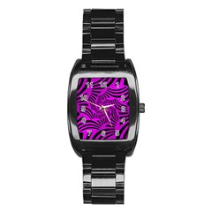 Black Spral Stripes Pink Stainless Steel Barrel Watch by designworld65