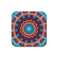 Blue Feather Mandala Rubber Square Coaster (4 Pack)  by designworld65