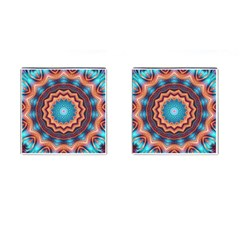 Blue Feather Mandala Cufflinks (square) by designworld65