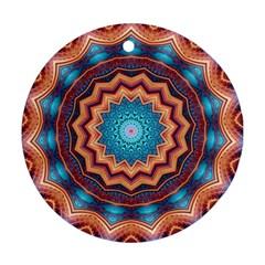 Blue Feather Mandala Round Ornament (two Sides) by designworld65