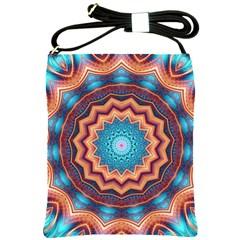 Blue Feather Mandala Shoulder Sling Bags by designworld65