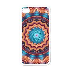 Blue Feather Mandala Apple Iphone 4 Case (white) by designworld65