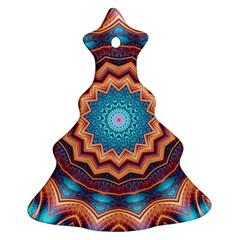 Blue Feather Mandala Christmas Tree Ornament (two Sides) by designworld65