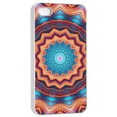 Blue Feather Mandala Apple Iphone 4/4s Seamless Case (white) by designworld65
