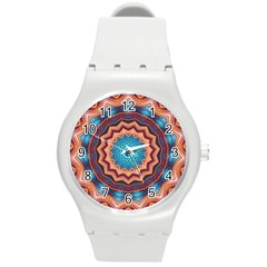 Blue Feather Mandala Round Plastic Sport Watch (m) by designworld65