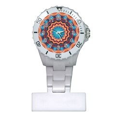 Blue Feather Mandala Plastic Nurses Watch by designworld65