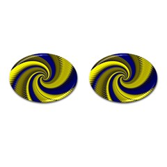Blue Gold Dragon Spiral Cufflinks (oval) by designworld65