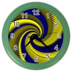Blue Gold Dragon Spiral Color Wall Clocks by designworld65