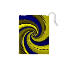 Blue Gold Dragon Spiral Drawstring Pouches (small)  by designworld65