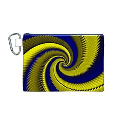 Blue Gold Dragon Spiral Canvas Cosmetic Bag (m) by designworld65