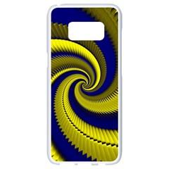 Blue Gold Dragon Spiral Samsung Galaxy S8 White Seamless Case by designworld65