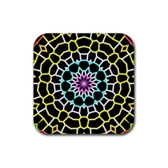 Colored Window Mandala Rubber Square Coaster (4 Pack)  by designworld65