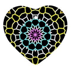 Colored Window Mandala Heart Ornament (two Sides) by designworld65