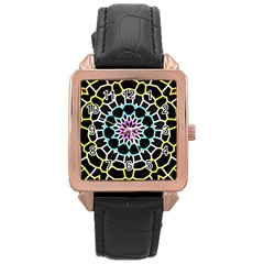 Colored Window Mandala Rose Gold Leather Watch  by designworld65
