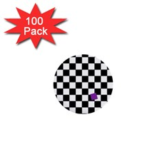 Dropout Purple Check 1  Mini Buttons (100 Pack)  by designworld65