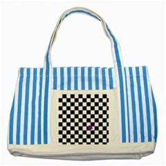 Dropout Purple Check Striped Blue Tote Bag by designworld65