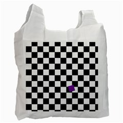 Dropout Purple Check Recycle Bag (two Side)  by designworld65