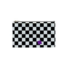 Dropout Purple Check Cosmetic Bag (small)  by designworld65