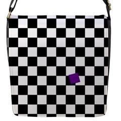 Dropout Purple Check Flap Messenger Bag (s) by designworld65