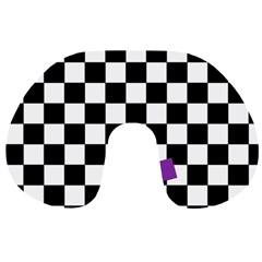 Dropout Purple Check Travel Neck Pillows by designworld65