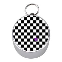 Dropout Purple Check Mini Silver Compasses by designworld65