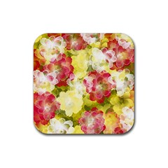 Flower Power Rubber Square Coaster (4 Pack)  by designworld65