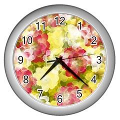 Flower Power Wall Clocks (silver)  by designworld65