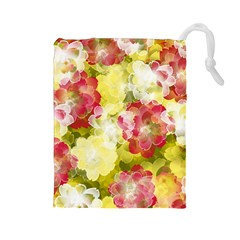 Flower Power Drawstring Pouches (large)  by designworld65
