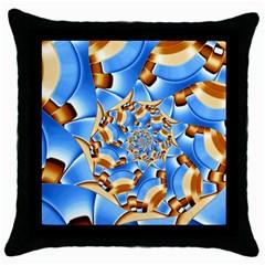 Gold Blue Bubbles Spiral Throw Pillow Case (black) by designworld65