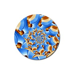 Gold Blue Bubbles Spiral Rubber Round Coaster (4 Pack)  by designworld65