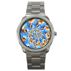 Gold Blue Bubbles Spiral Sport Metal Watch by designworld65