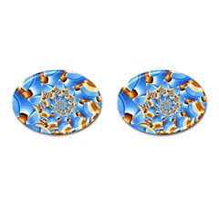 Gold Blue Bubbles Spiral Cufflinks (oval) by designworld65