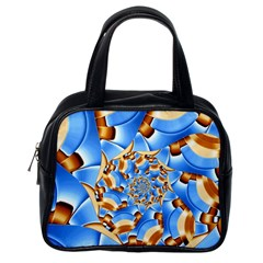 Gold Blue Bubbles Spiral Classic Handbags (one Side) by designworld65