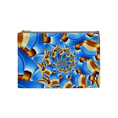 Gold Blue Bubbles Spiral Cosmetic Bag (medium)  by designworld65