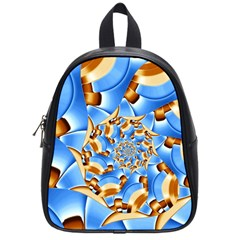 Gold Blue Bubbles Spiral School Bag (small) by designworld65