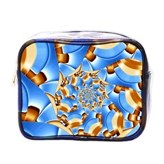 Gold Blue Bubbles Spiral Mini Toiletries Bags by designworld65