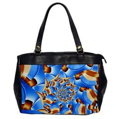 Gold Blue Bubbles Spiral Office Handbags by designworld65